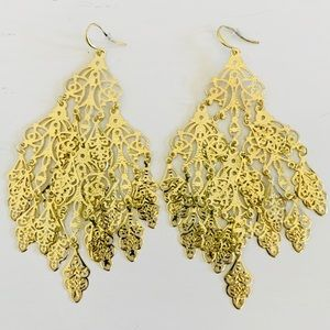 "NWOT Oversized Gold Chandelier Earrings 5"" Long"